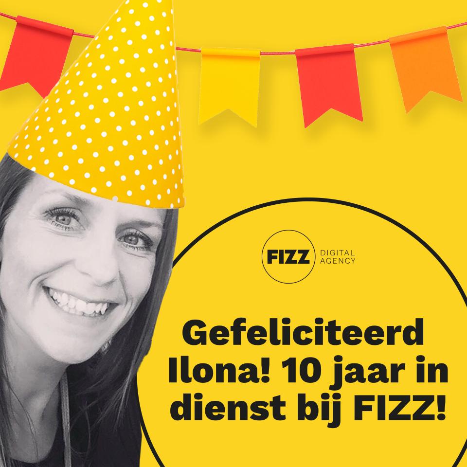 Gefeliciteerd Ilona! 10 jaar in dienst bij FIZZ!